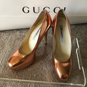 Brian Atwood Rose Gold Maniac Pumps